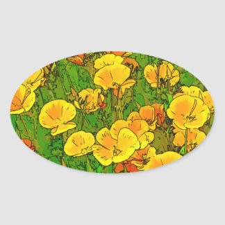 Orange California Poppies 2.2_rd Oval Sticker