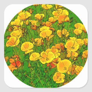 Orange California Poppies 2.2_rd Square Sticker