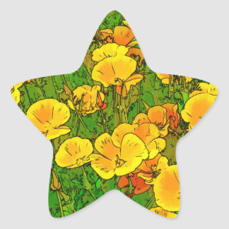 Orange California Poppies 2.2_rd Star Sticker