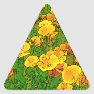 Orange California Poppies 2.2_rd Triangle Sticker