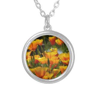 Orange California Poppies_3.1 Silver Plated Necklace
