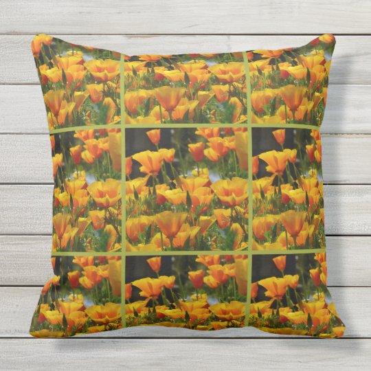 Orange California Poppies_3.2.2.g Throw Pillow