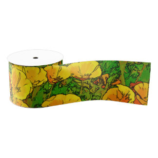 Orange California Poppies Grosgrain Ribbon