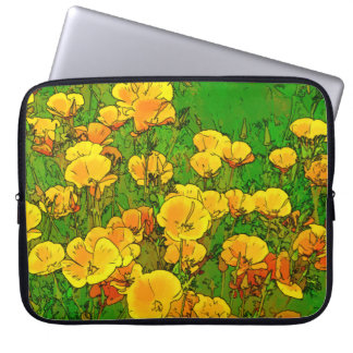 Orange California Poppies Laptop Sleeve
