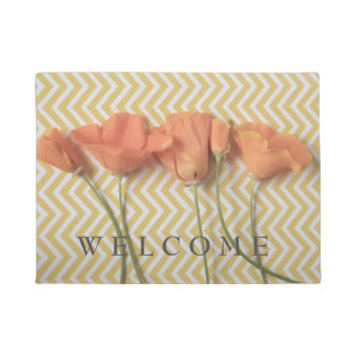 Orange California poppies on chevron background Doormat