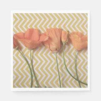 Orange California poppies on chevron background Napkin