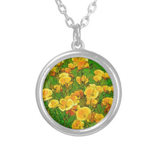 Orange California Poppies Silver Plated Necklace