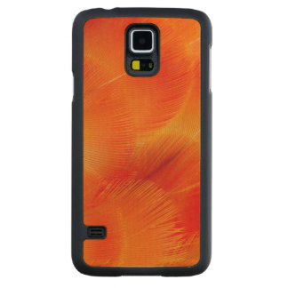 Orange Camelot Macaw Feather Abstract Carved Maple Galaxy S5 Case