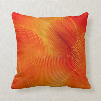 Orange Camelot Macaw Feather Abstract Throw Pillow