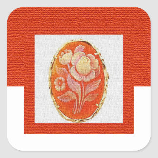 Orange Cameo Square Sticker