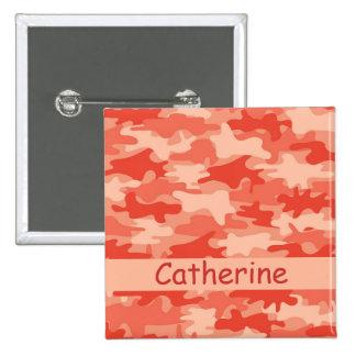 Orange Camo Camouflage Name Personalized 2 Inch Square Button