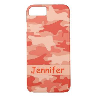 Orange Camo Camouflage Name Personalized iPhone 7 Case
