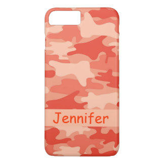 Orange Camo Camouflage Name Personalized iPhone 7 Plus Case