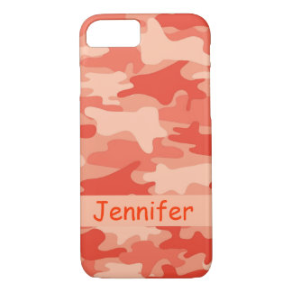 Orange Camo Camouflage Name Personalized iPhone 8/7 Case