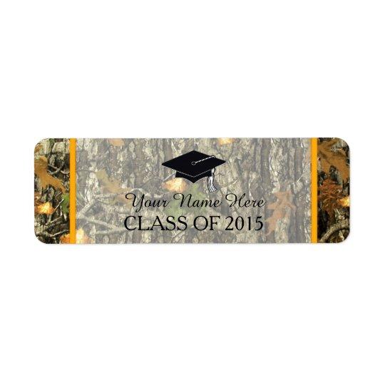 Orange & Camo Graduation Label Return Address Label