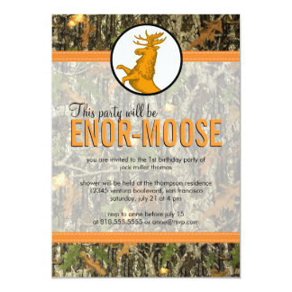 Orange - Camo & Moose Birthday Party Invitation