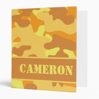 Orange Camouflage (Camo) | Personalized Vinyl Binder