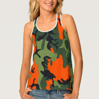 Orange Camouflage Design For Women Tank Top