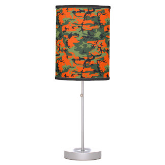 Orange Camouflage Patterns Table Lamp