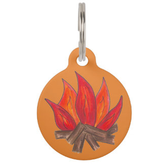 Orange Campfire Camp Fire Flames Logs Camping Pet ID Tag