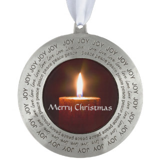 Orange Candle Ornament Template Round Pewter Ornament