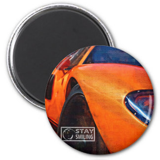 Orange Car Painting 2 Inch Round Magnet