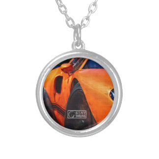 Orange Car Painting Silver Plated Necklace