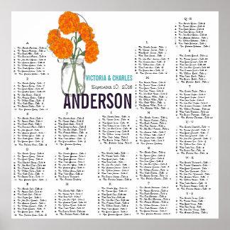 Orange Carnation Modern Mason Jar Seating Chart Poster