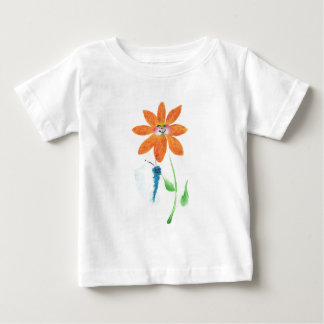 Orange Cartoon Flower with Face Baby T-Shirt