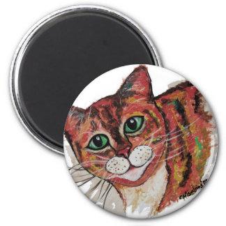 Orange Cat 2 Inch Round Magnet