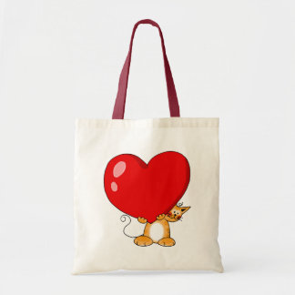 Orange cat carrying a big red heart canvas bag