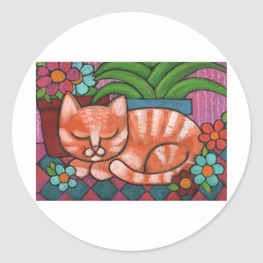Orange Cat Classic Round Sticker