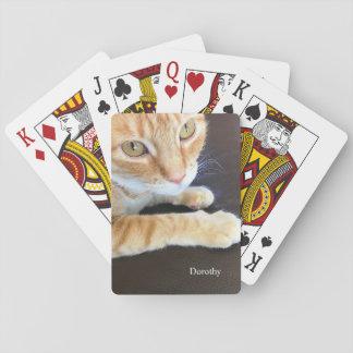Orange cat closeup playing cards