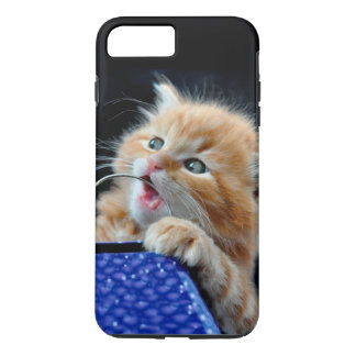 Orange Cat Cub Playing and Biting Blue iPhone 7 Plus Case