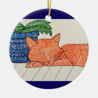 Orange Cat Doodle Ornament