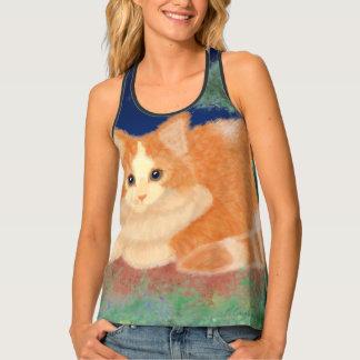 Orange Cat In The Garden Tank Top