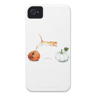 Orange Cat Jumping Between Pumpkins Case-Mate iPhone 4 Cases