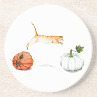 Orange Cat Jumping Between Pumpkins Coaster