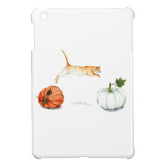 Orange Cat Jumping Between Pumpkins Cover For The iPad Mini