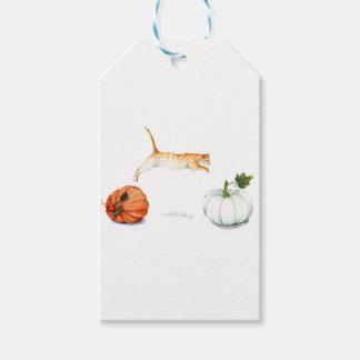 Orange Cat Jumping Between Pumpkins Gift Tags