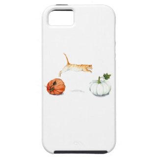 Orange Cat Jumping Between Pumpkins iPhone 5 Covers