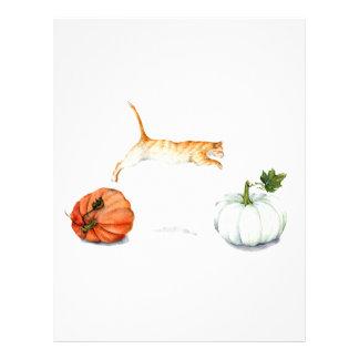 Orange Cat Jumping Between Pumpkins Letterhead