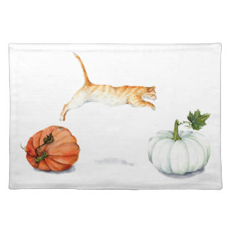 Orange Cat Jumping Between Pumpkins Placemat