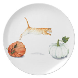 Orange Cat Jumping Between Pumpkins Plate