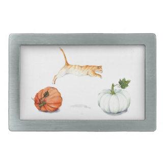 Orange Cat Jumping Between Pumpkins Rectangular Belt Buckle