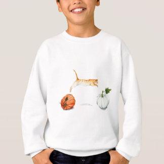 Orange Cat Jumping Between Pumpkins Sweatshirt