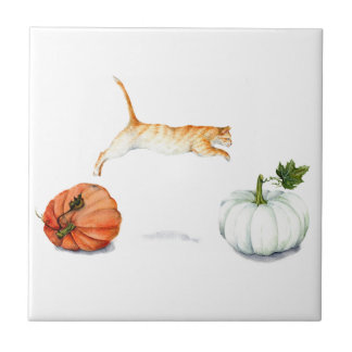Orange Cat Jumping Between Pumpkins Tile