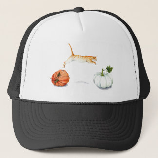 Orange Cat Jumping Between Pumpkins Trucker Hat