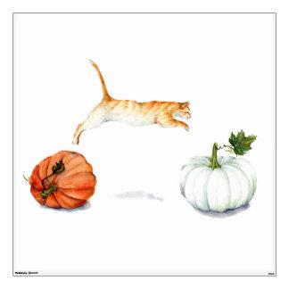 Orange Cat Jumping Between Pumpkins Wall Decal