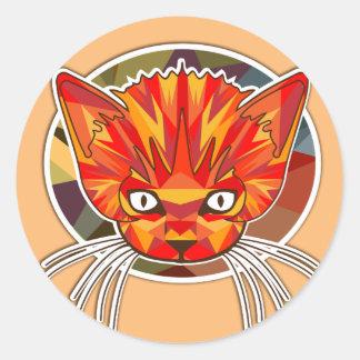 ORANGE CAT LOGO CLASSIC ROUND STICKER